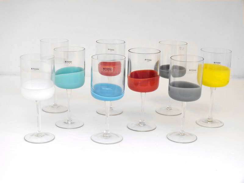 Bitossi home design years 90 tumble spot, 9 glass various colour