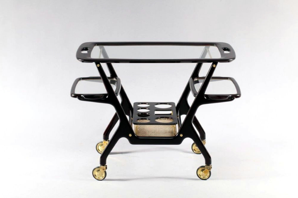 cart bar Cesare Lacca for Baggis years '50 three removible trays