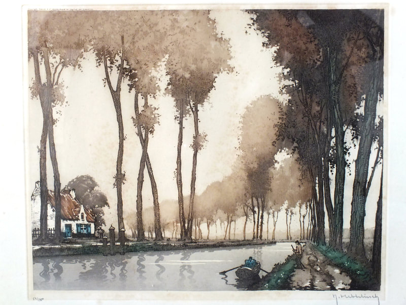 roger hebbelinck 1912-1987  canal etching years '50