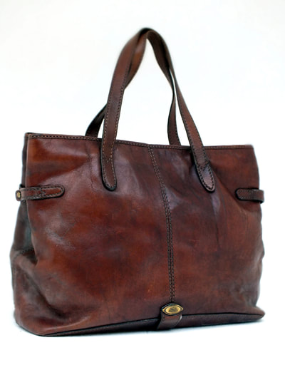 the bridge cuoio grande borsa big bag leather years 80 signed